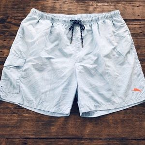 Tommy Bahama Blue Floral Lined Swim Trunks Cargo